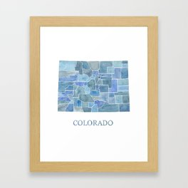 Colorado Counties BluePrint Watercolor Map Framed Art Print