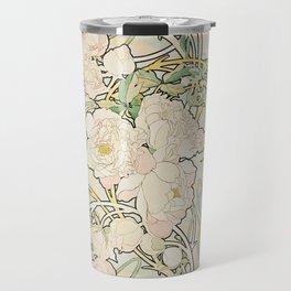 Alphonse Mucha - Peonies,1897 Travel Mug