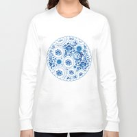 shabby chic Long Sleeve T-shirts featuring Vintage shabby Chic pattern with blue flowers and leaves by EkaterinaP