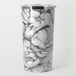 B&W Flowers Travel Mug