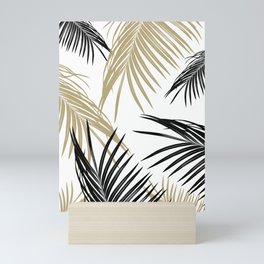 Gold Black Palm Leaves Dream #1 #tropical #decor #art #society6 Mini Art Print