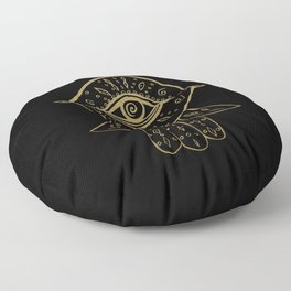 Hamsa Hand Gold on Black #1 #drawing #decor #art #society6 Floor Pillow