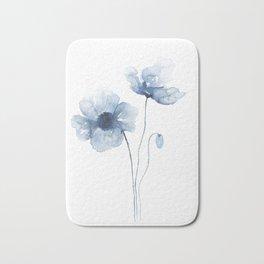 Blue Watercolor Poppies Bath Mat