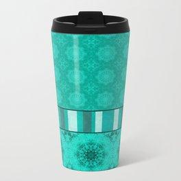 Peacock Green and White Abstract Mandala Tile Metal Travel Mug