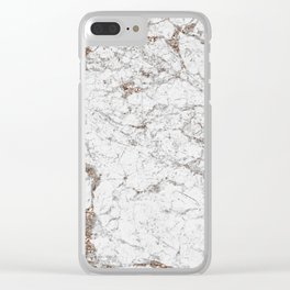 White frost - rose gold marble Clear iPhone Case