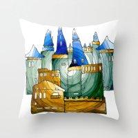 castle Throw Pillows featuring Castle by Irina  Mushkar'ova