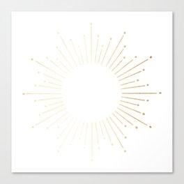 Sunburst Gold Copper Bronze on White Canvas Print