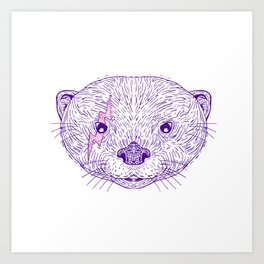Otter Head Lightning Bolt Drawing Art Print
