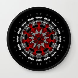 Bright Red Silver Star Flower Mandala Wall Clock