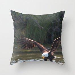 Bald Eagle Fishing at Oak Bay Throw Pillow