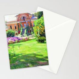 Tuscany Villa, Italy in Summer with Flowers and Sunflowers by Sergei Vinogradov Stationery Cards