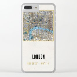 Vintage London Gold Foil Location Coordinates with map Clear iPhone Case
