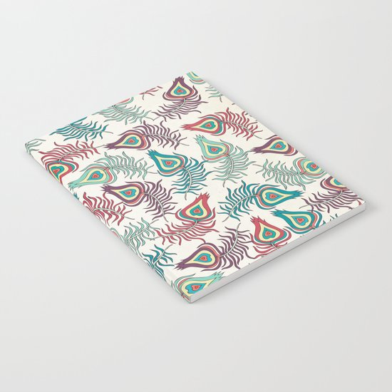 Peacock Feathers Rain Notebook