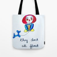 pennywise Tote Bags featuring Pessimistic Pennywise by Ashley Petersen