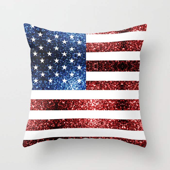USA flag red blue sparkles glitters Throw Pillow