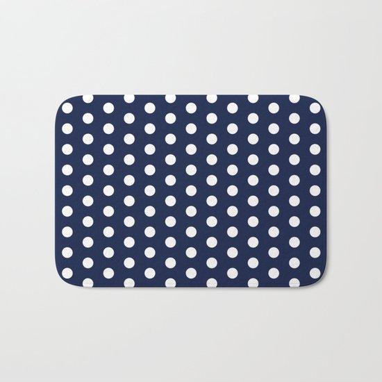 Indigo Navy Blue Polka Dot Bath Mat