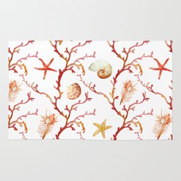 Shell & Coral Watercolor Pattern Rug