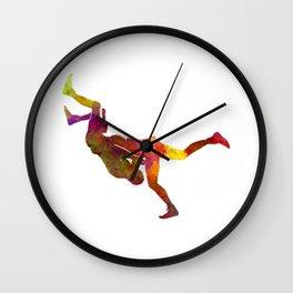 Wrestlers wrestling men 02 in watercolor Wall Clock