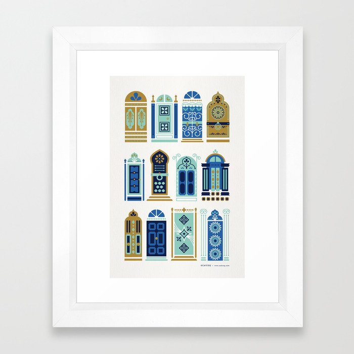 Moroccan Doors – Blue & Gold Palette Framed Art Print