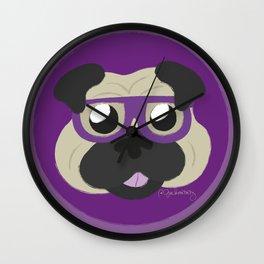 Purple Pug Wall Clock