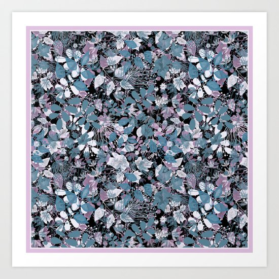 Openwork blue and purple leaves on a black background . Art Print