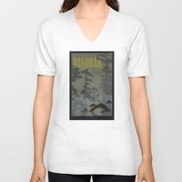 travel poster V-neck T-shirts featuring Dagobah Travel Poster by Tawd86