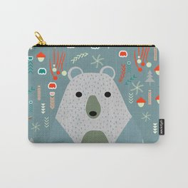 Winter pattern with baby bear Carry-All Pouch