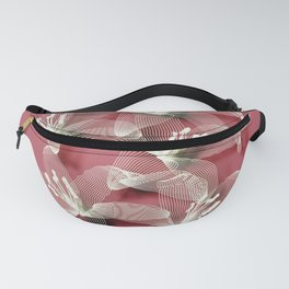 Tiger Lilies in white lines Fanny Pack