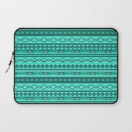 Modern Native Navajo Ethnic Tribal - Aquamarine Blue Color Laptop Sleeve