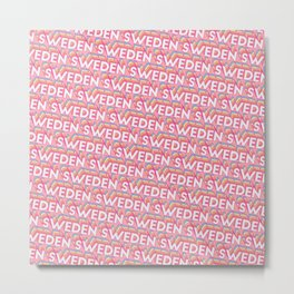 Sweden Trendy Rainbow Text Pattern (Pink) Metal Print