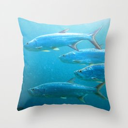 Watercolor Fish, Tarpon 01, St John, USVI, School is in Session! Throw Pillow