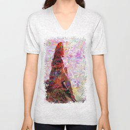 DayDreaming - Intense Multi-Color Vibrant Abstract Mixed Media Digital Painting Unisex V-Neck
