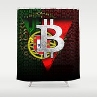 portugal Shower Curtains featuring bitcoin Portugal by seb mcnulty