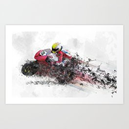 High Speed Motorcycle Racer Art Print