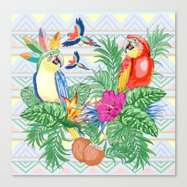 Macaws Parrots Exotic Birds on Tropical Flowers and Leaves Canvas Print