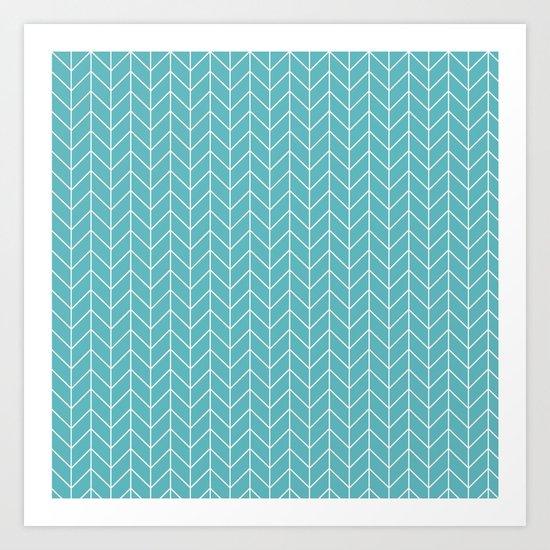 Nautical Navy Herringbone Pattern- White on Aqua on #Society6 Art Print