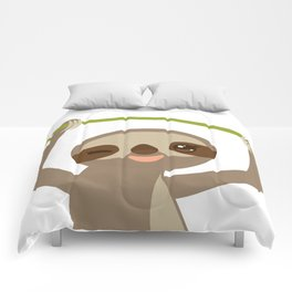 funny and cute smiling Three-toed sloth on green branch 2 Comforters