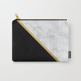 Marble, Black, White, Gold, Abstract Color Block Carry-All Pouch