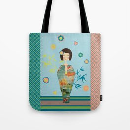 Kokeshi Geisha Japan Green Tote Bag