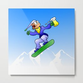 Snowboarding with a beer Metal Print