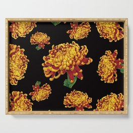 Floral Theme- Chrysanthemum Watercolor Painting Serving Tray