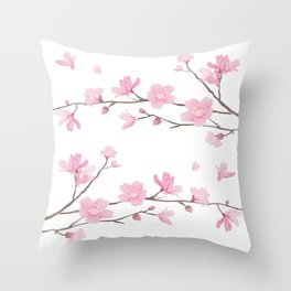 Cherry Blossom - Transparent Background Throw Pillow