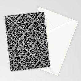 Scroll Damask Pattern Black on Gray Stationery Cards