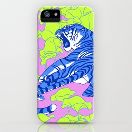 Neon Tigers and Water Lillies. iPhone Case