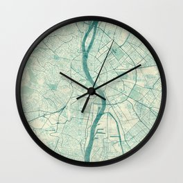 Budapest Map Blue Vintage Wall Clock