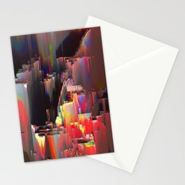 Abstract Contemporary Digital Glitch Painting Stationery Cards