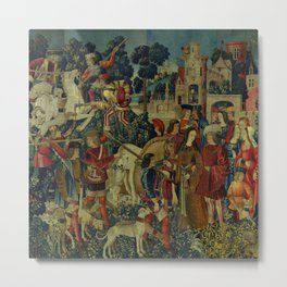 The Unicorn is Killed and Brought to the Castle (from the Unicorn Tapestries) 1495–1505 Metal Print