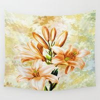 vintage floral Wall Tapestries featuring Vintage Floral by Colorful Art