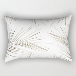 White Gold Palm Leaves on White Rectangular Pillow