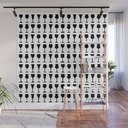 Black Silhouette Wine Glasses Pattern Print Wall Mural